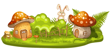 country farms: Green glade with house for gnome made from mushroom Illustration