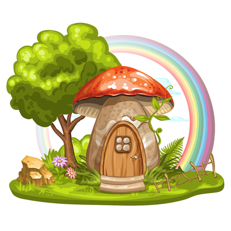tree house: House for gnome made from mushroom Illustration