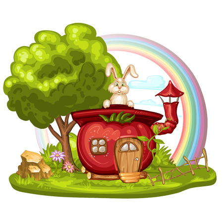 tree  forest: House for gnome made from tomato with tree and rainbow Illustration
