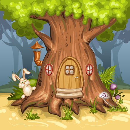 wild mushrooms: Tree house in the forest Illustration
