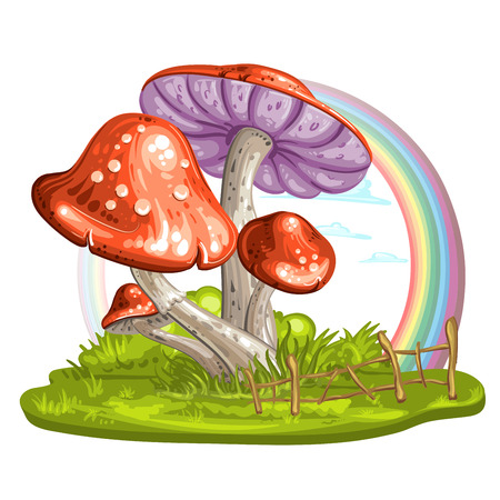 glades: Cartoon mushroom on green glade Illustration
