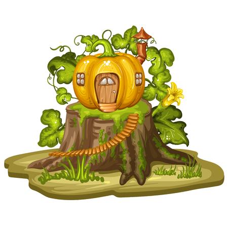 gnome: Cartoon house for gnome made from pumpkin