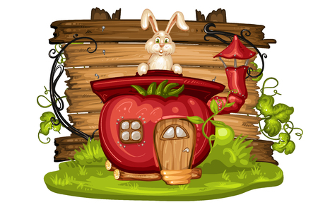 House for gnome made from tomato