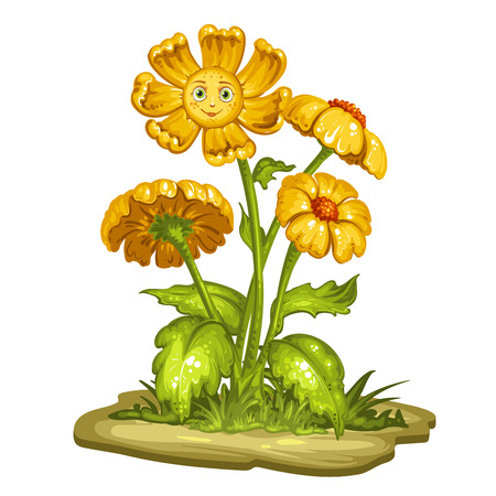 flor caricatura: Cartoon flower with a smiling face