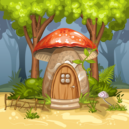 fairytale: House for gnome made from mushroom Illustration