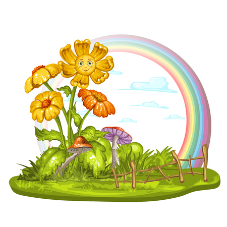 Cartoon flowers on green glade
