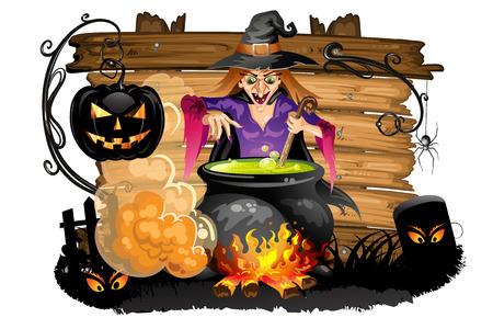 potion: Witch preparing a potion