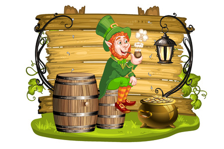 pots: Leprechaun sitting on barrels and holding a pipe