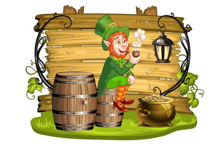 patron saint of ireland: Leprechaun sitting on barrels and holding a pipe
