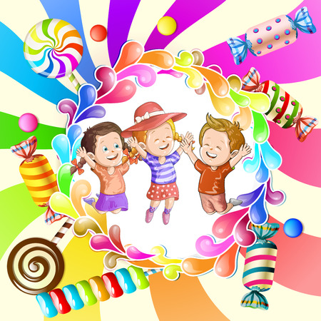 Illustration of kids with candies