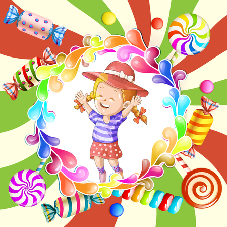 Illustration of happy kid with candies Illustration