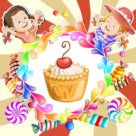 goody: Illustration of kids with cake and candies