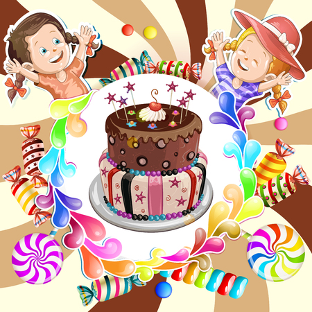 goody: Illustration of kids with chocolate birthday cake and candies Illustration