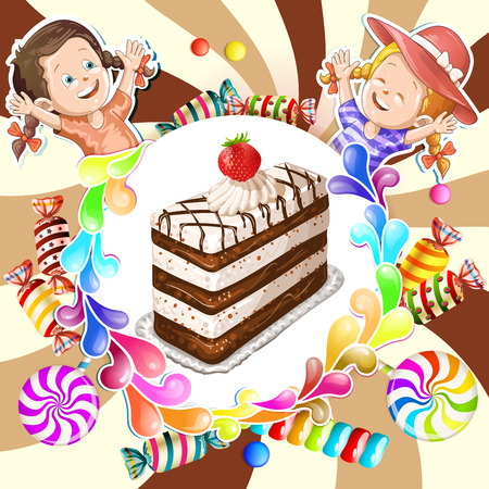 goody: Illustration of kids with chocolate cake and candies