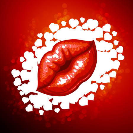 red lips: Beautiful glossy female lips Vectores