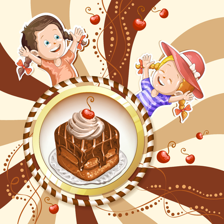 Illustration of kids with chocolate cake