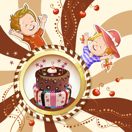 lllustration of kids with chocolate birthday cake and candies