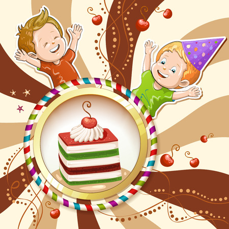 Illustration of kids with kiwi and cherry cake