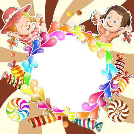 goody: Illustration of kids with chocolate background
