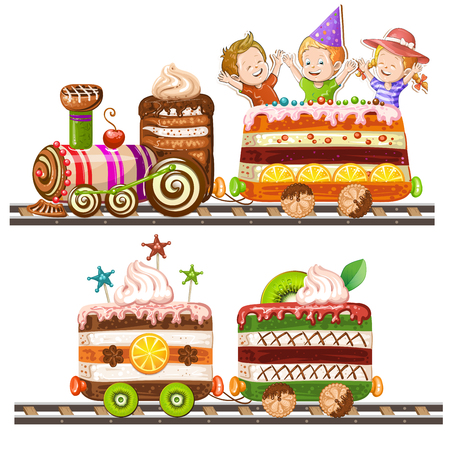 goody: Children traveling in train cake Illustration