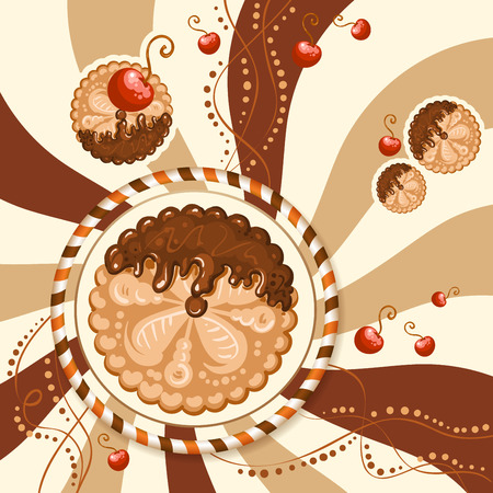 Biscuits with chocolate cream and cherries over background Illustration