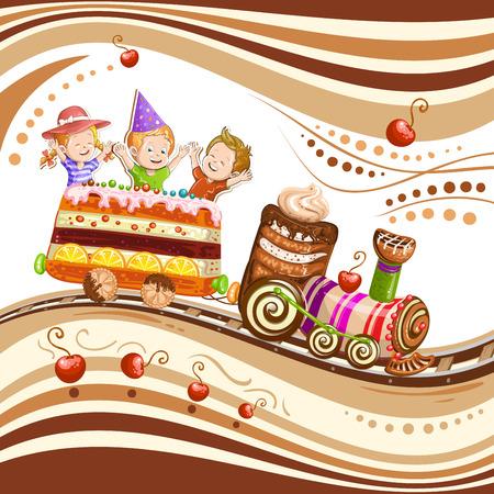 Children traveling in train cake Illustration