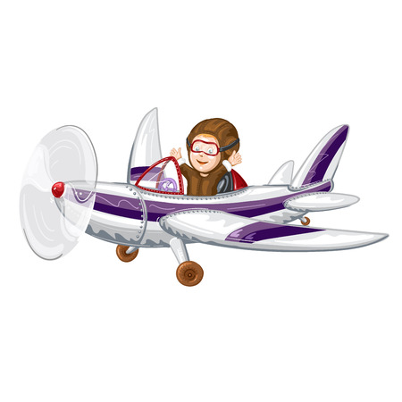 Pilot flying the plane in cartoon illustration.