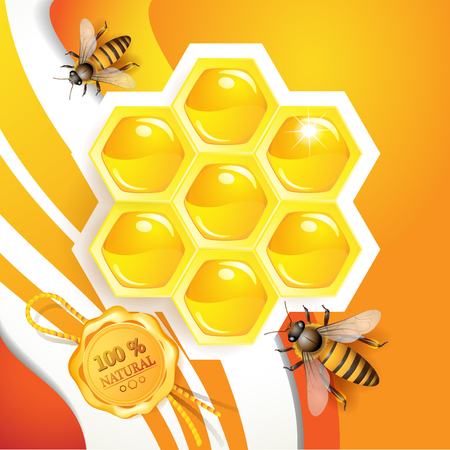 Honey and bees over floral background.