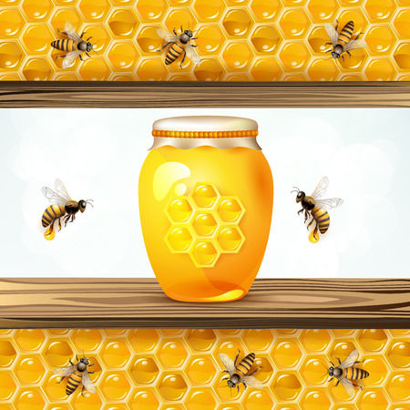 Glass jar with bees and honeycombs in colorful illustration.