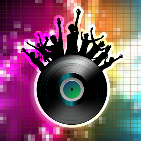 Vinyl record with dancing silhouettes and disco lights