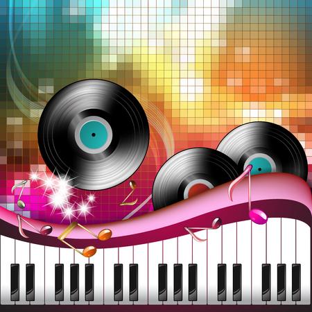 Piano keys with black vinyl record