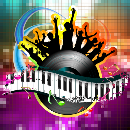Piano keys with dancing silhouettes and vinyl record Фото со стока - 95570800