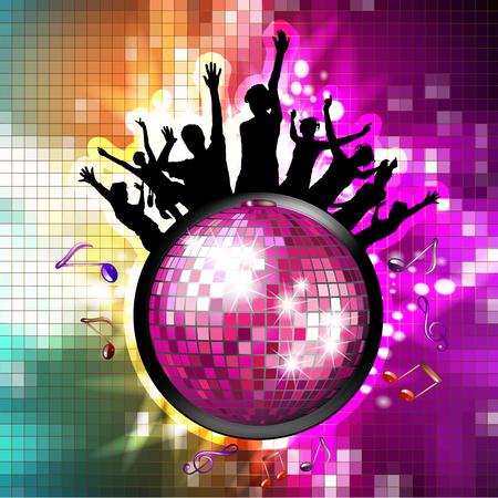 Disco globe and silhouettes