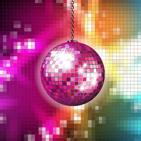 Pixilated abstract background with disco ball Çizim