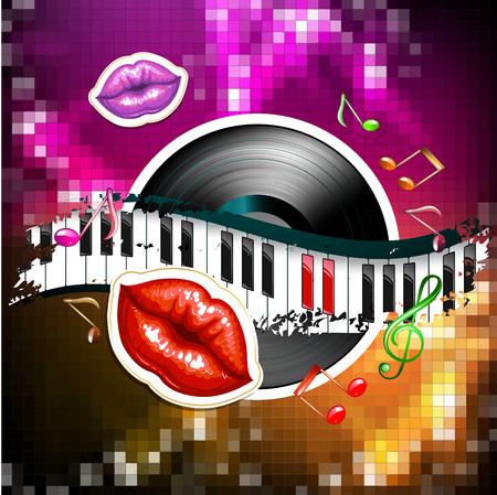 Piano keys with glossy female lips and vinyl record