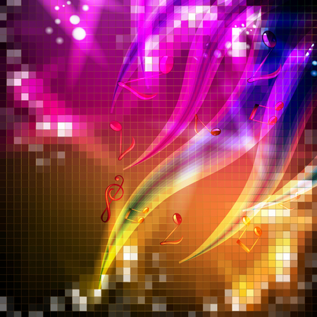 Abstract background with musical notes and lights Stok Fotoğraf