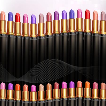 rouge à lèvres rouge sur fond coloré Vecteurs