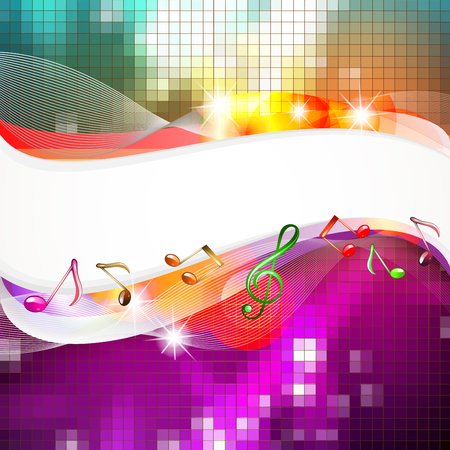 Abstract background with musical notes and lights Çizim