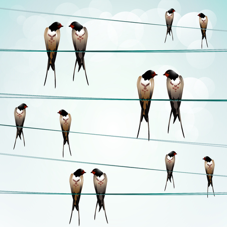 Background with swallows on the wire