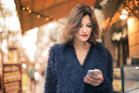Pretty lady in a blue fur