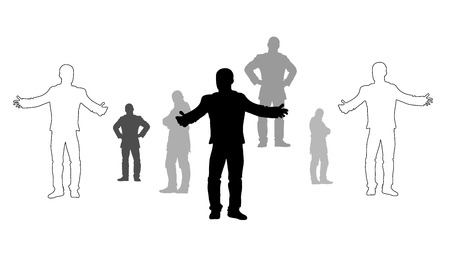 cut away: Set of man silhouettes in white, black and grey. Vector illustration.