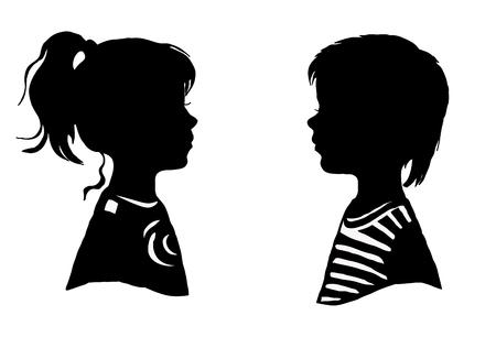 男の子と女の子の 2 つのシルエット