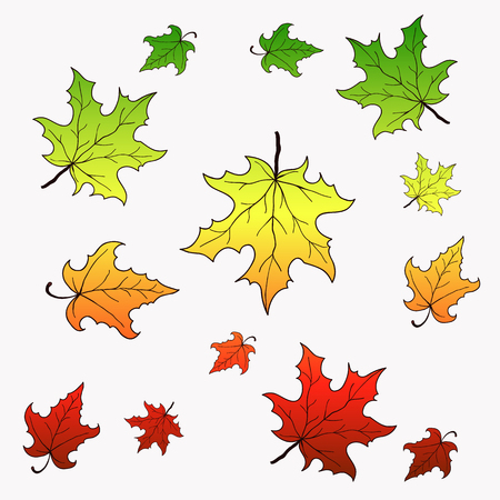 country side: Falling maple leaves. Vector background with gradient.
