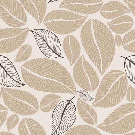 Leaves beige flowers seamless pattern background. Vector illustration. Illustration