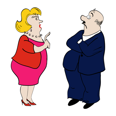 black business woman: Couple of arguing old woman and man. Vector illustration.