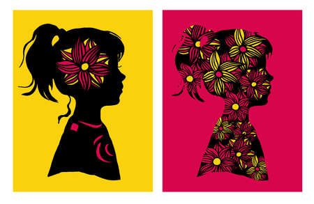 silhouttes: Two silhouttes of girl with flower pattern. Vector illustration. Design elements. Retro style. Illustration