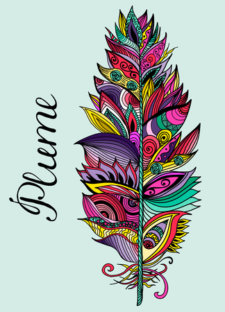 plume: Color hand drawn plume with lettering. Vector illustration.