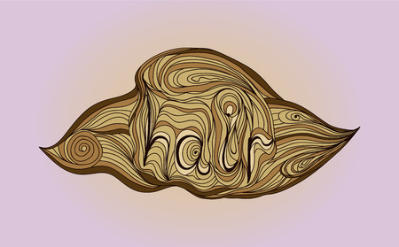 whirling: Wave doodle icon with lettering hair in brown shades. Vector illustration. Illustration