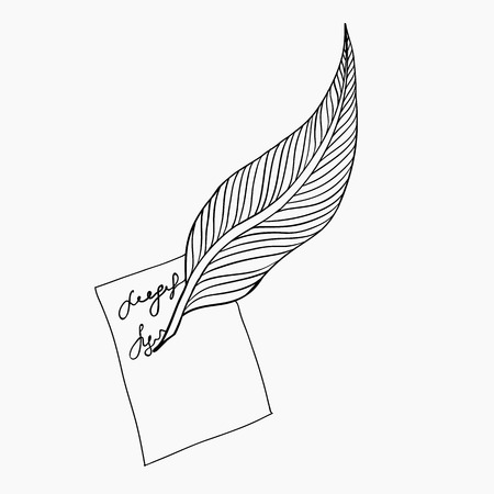 plume: Feather for writing. Sketched plume with paper. Vector illustration. Illustration