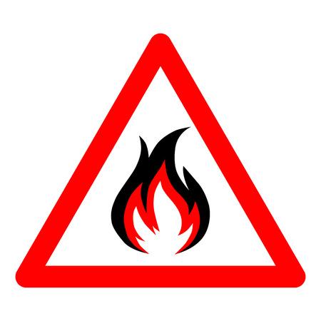 precautions: fire vector icon on white background. Vector illustration.